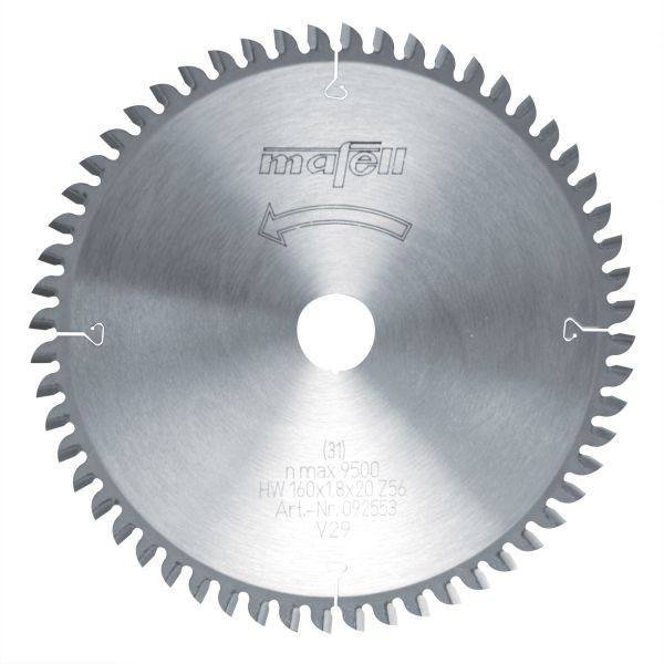 Mafell Sägeblatt-HM, 160 x 1,2/1,8 x 20 mm, Z 56, FZ/TZ